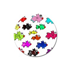 Fishes Marine Life Swimming Water Magnet 3  (Round)
