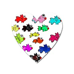 Fishes Marine Life Swimming Water Heart Magnet
