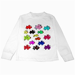 Fishes Marine Life Swimming Water Kids Long Sleeve T-Shirts