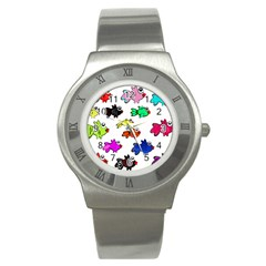 Fishes Marine Life Swimming Water Stainless Steel Watch