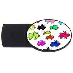 Fishes Marine Life Swimming Water Usb Flash Drive Oval (4 Gb)