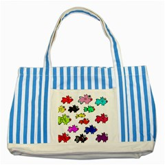 Fishes Marine Life Swimming Water Striped Blue Tote Bag