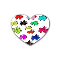 Fishes Marine Life Swimming Water Heart Coaster (4 pack)