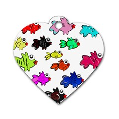 Fishes Marine Life Swimming Water Dog Tag Heart (one Side)