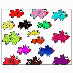 Fishes Marine Life Swimming Water Canvas 11  X 14
