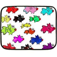 Fishes Marine Life Swimming Water Fleece Blanket (Mini)