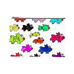 Fishes Marine Life Swimming Water Cosmetic Bag (large)