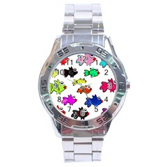 Fishes Marine Life Swimming Water Stainless Steel Analogue Watch