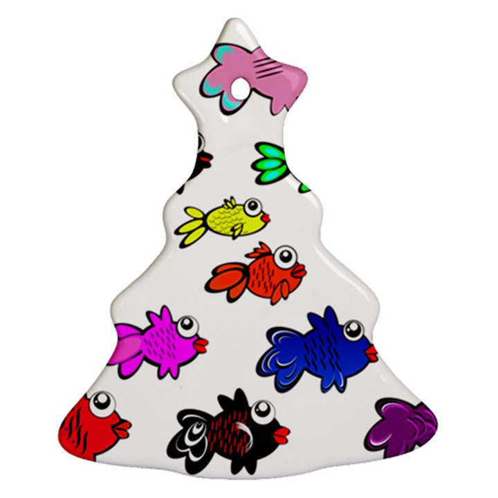 Fishes Marine Life Swimming Water Ornament (Christmas Tree)