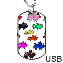 Fishes Marine Life Swimming Water Dog Tag USB Flash (Two Sides)