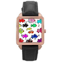 Fishes Marine Life Swimming Water Rose Gold Leather Watch