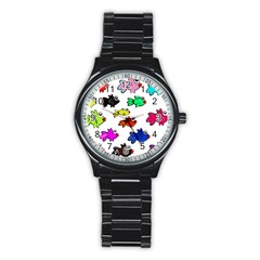 Fishes Marine Life Swimming Water Stainless Steel Round Watch