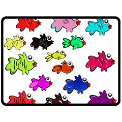 Fishes Marine Life Swimming Water Double Sided Fleece Blanket (Large)