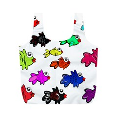 Fishes Marine Life Swimming Water Full Print Recycle Bags (M)