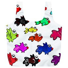 Fishes Marine Life Swimming Water Full Print Recycle Bags (L)