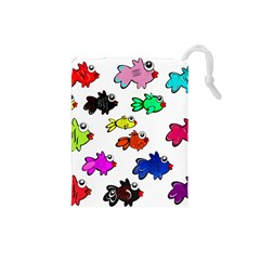 Fishes Marine Life Swimming Water Drawstring Pouches (Small)