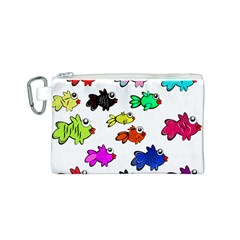 Fishes Marine Life Swimming Water Canvas Cosmetic Bag (S)