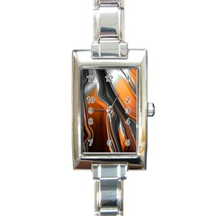 Fractal Structure Mathematics Rectangle Italian Charm Watch