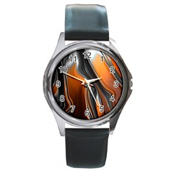 Fractal Structure Mathematics Round Metal Watch