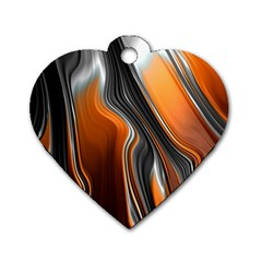 Fractal Structure Mathematics Dog Tag Heart (Two Sides)