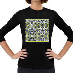 Tiles Panel Decorative Decoration Women s Long Sleeve Dark T-Shirts