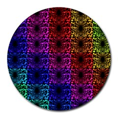 Rainbow Grid Form Abstract Round Mousepads