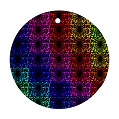 Rainbow Grid Form Abstract Ornament (Round)
