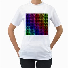 Rainbow Grid Form Abstract Women s T-Shirt (White) (Two Sided)