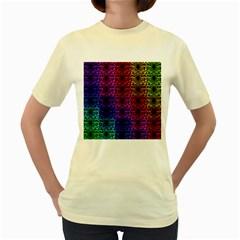 Rainbow Grid Form Abstract Women s Yellow T Shirt