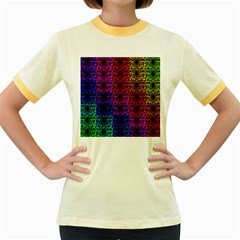 Rainbow Grid Form Abstract Women s Fitted Ringer T-Shirts