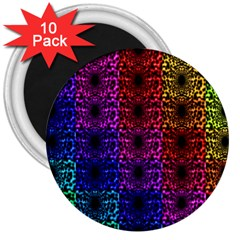 Rainbow Grid Form Abstract 3  Magnets (10 Pack)