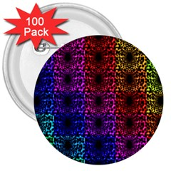 Rainbow Grid Form Abstract 3  Buttons (100 Pack)