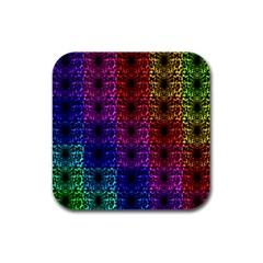 Rainbow Grid Form Abstract Rubber Coaster (square)