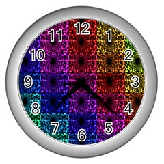 Rainbow Grid Form Abstract Wall Clocks (Silver)