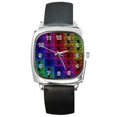 Rainbow Grid Form Abstract Square Metal Watch