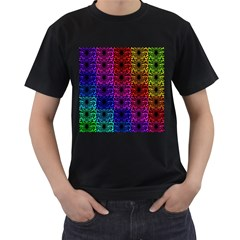 Rainbow Grid Form Abstract Men s T-Shirt (Black) (Two Sided)