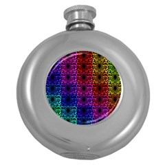 Rainbow Grid Form Abstract Round Hip Flask (5 oz)
