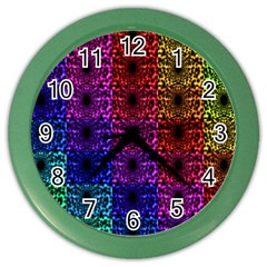 Rainbow Grid Form Abstract Color Wall Clocks