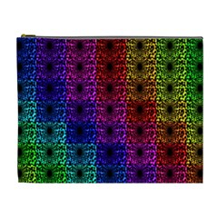 Rainbow Grid Form Abstract Cosmetic Bag (xl)