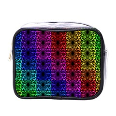 Rainbow Grid Form Abstract Mini Toiletries Bags
