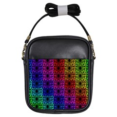 Rainbow Grid Form Abstract Girls Sling Bags