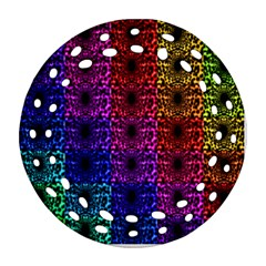 Rainbow Grid Form Abstract Round Filigree Ornament (Two Sides)