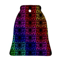Rainbow Grid Form Abstract Bell Ornament (Two Sides)