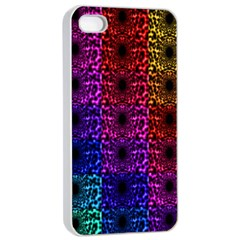 Rainbow Grid Form Abstract Apple iPhone 4/4s Seamless Case (White)