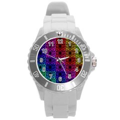 Rainbow Grid Form Abstract Round Plastic Sport Watch (L)