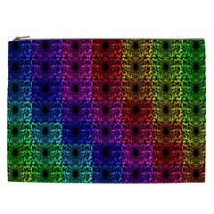Rainbow Grid Form Abstract Cosmetic Bag (xxl)