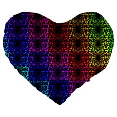Rainbow Grid Form Abstract Large 19  Premium Heart Shape Cushions