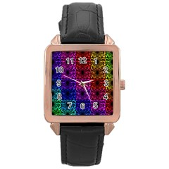 Rainbow Grid Form Abstract Rose Gold Leather Watch