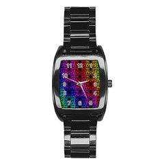 Rainbow Grid Form Abstract Stainless Steel Barrel Watch