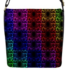 Rainbow Grid Form Abstract Flap Messenger Bag (S)